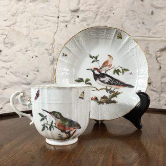 Meissen birds cup & saucer, oldozier moulded, c.1745 -0