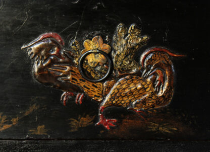 European Chinoiserie black lacquer chest, on later stand, c. 1700 -9353