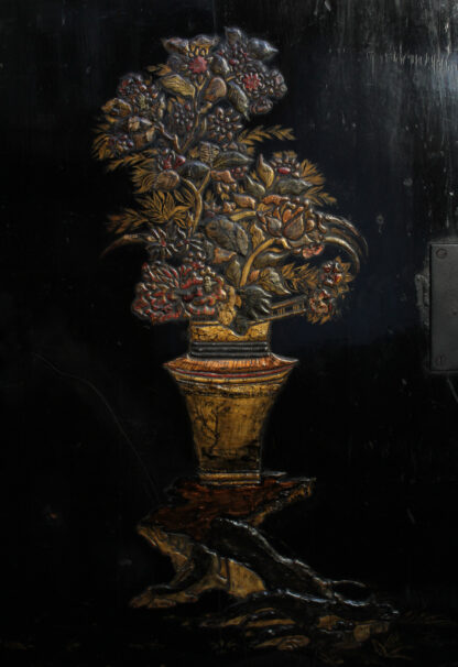 European Chinoiserie black lacquer chest, on later stand, c. 1700 -9352