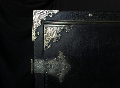 European Chinoiserie black lacquer chest, on later stand, c. 1700 -9354