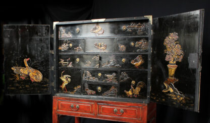 European Chinoiserie black lacquer chest, on later stand, c. 1700 -9358