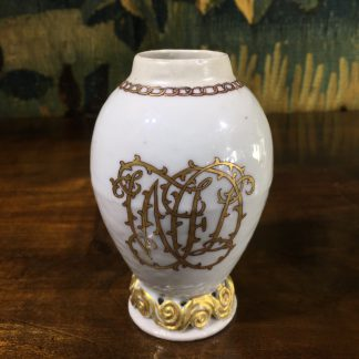 Chinese export tea canister, egg shape with WJD monogram, c.1780 -0
