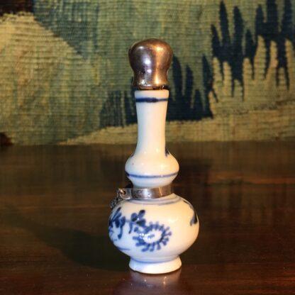 Chinese porcelain miniature vase, Dutch silver mount, c.1700-28823