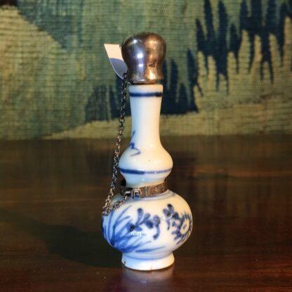 Chinese porcelain miniature vase, Dutch silver mount, c.1700-0
