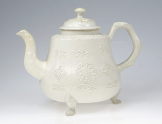 Saltglaze teapot, fine sprigging with crab-stock handle & lions paw feet, c.1760 -0