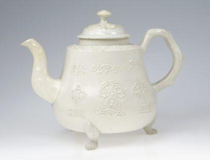 Saltglaze teapot, fine sprigging with crab-stock handle & lions paw feet, c.1760 -0