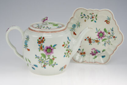 Worcester Tea Pot and Stand painted with oriental flower sprays, c.1765 -957