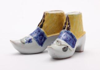 Pair of tin glazed shoe money boxes, Brussels, C. 1760 -0