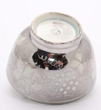 Platinum lustre Pearlware teabowl & saucer, grape vine pattern, c.1820 -9026