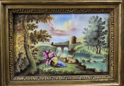 Continental enamel plaque, Italianate scene with a classical couple, 18th century -13100