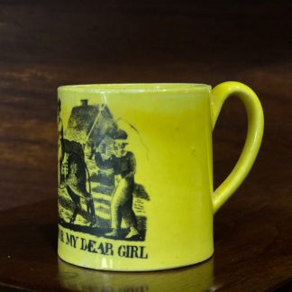 Staffordshire pottery child's mug, yellow ground with PRESENT FOR MY DEAR GIRL - c. 1820 -0