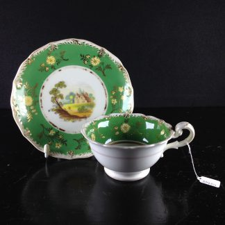 Coalport green ground teacup & saucer with scenes, pat.509, c.1835-0