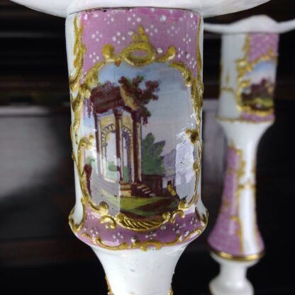 Pair of English enamel candlesticks, pink ground, c. 1780-6439