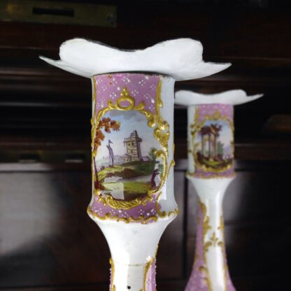 Pair of English enamel candlesticks, pink ground, c. 1780-6441