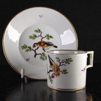 Thuringian porcelain coffee can & saucer, bird painting, C. 1805 -0