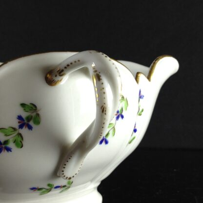 French porcelain twin handled sauceboat, cornflower sprigs, c.1780 -1938