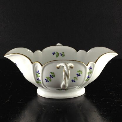 French porcelain twin handled sauceboat, cornflower sprigs, c.1780 -1939