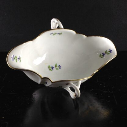 French porcelain twin handled sauceboat, cornflower sprigs, c.1780 -1940