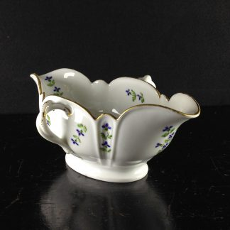 French porcelain twin handled sauceboat, cornflower sprigs, c.1780 -0