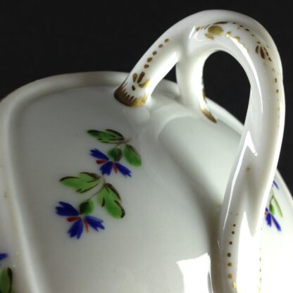 French porcelain twin handled sauceboat, cornflower sprigs, c.1780 -1944