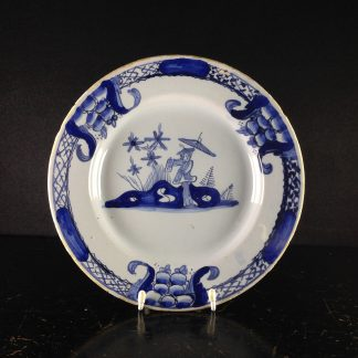 English delft plate with Chinoiserie, C. 1765 -0