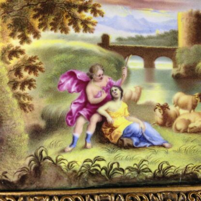 Continental enamel plaque, Italianate scene with a classical couple, 18th century -2196