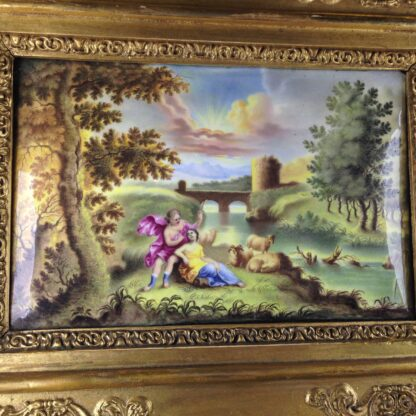 Continental enamel plaque, Italianate scene with a classical couple, 18th century -2198