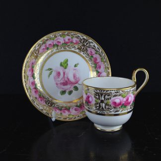 Coalport cup & saucer, bands of Roses, c.1830-0