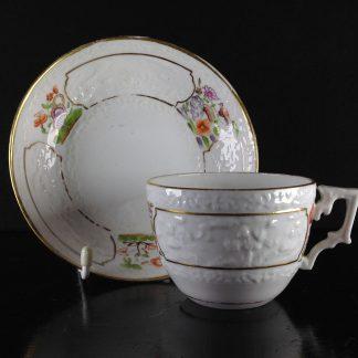 Miles Mason tea cup & saucer, rare Chinese Landscape moulding, c.1810 -0