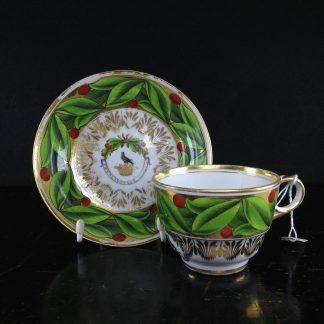 Coalport armorial cup & saucer, Temple family C. 1810-0