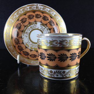 Coalport coffee cup & saucer, neoclassical pattern, c.1805 -0