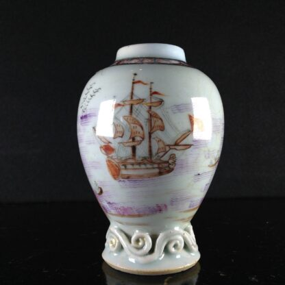 Chinese export tea canister with ship, c. 1760-0