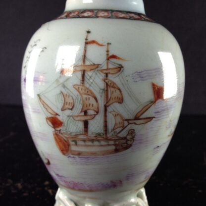 Chinese export tea canister with ship, c. 1760-2580