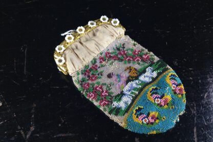 French beadwork purse with Child,dog & three lambs, glass flowers, c.1830.-2745