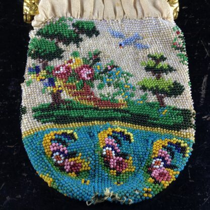 French beadwork purse with Child,dog & three lambs, glass flowers, c.1830.-2748