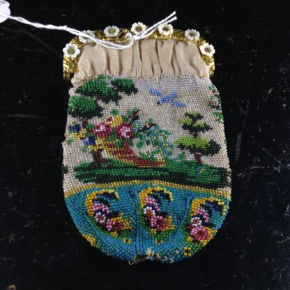 French beadwork purse with Child,dog & three lambs, glass flowers, c.1830.-2750