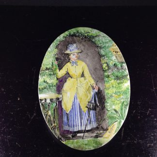 Copeland plaque with amateur painting- lady with birdcage- c.1860 -0