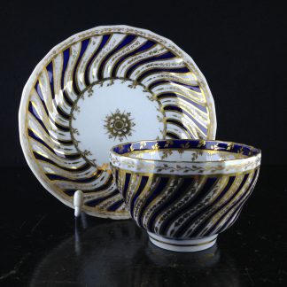 Worcester tea bowl & saucer, spiral fluted with blue & gold pattern, c.1780 -0