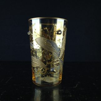 Moser glass with acorns etc on purple glass, c. 1890-0