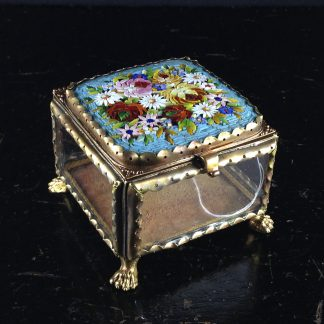 Glass Box with micro mosaic lid, gilt metal mounts, c.1880-0