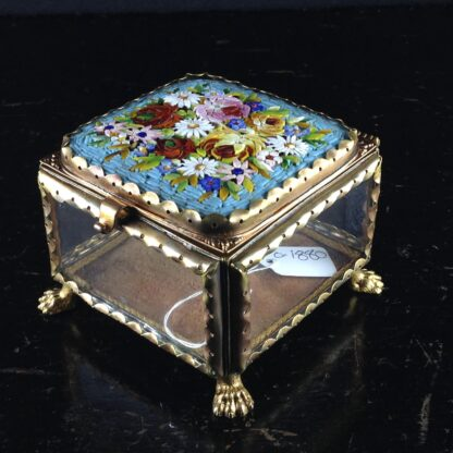 Glass Box with micro mosaic lid, gilt metal mounts, c.1880-2836
