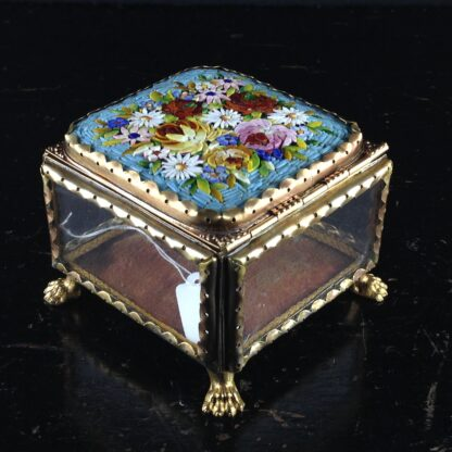 Glass Box with micro mosaic lid, gilt metal mounts, c.1880-2837