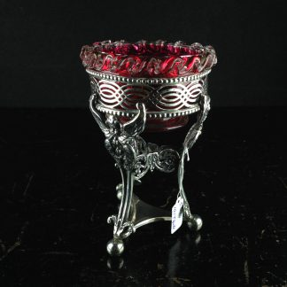Ruby glass & Sterling Silver tripod salt, angels heads, London 1909.-0