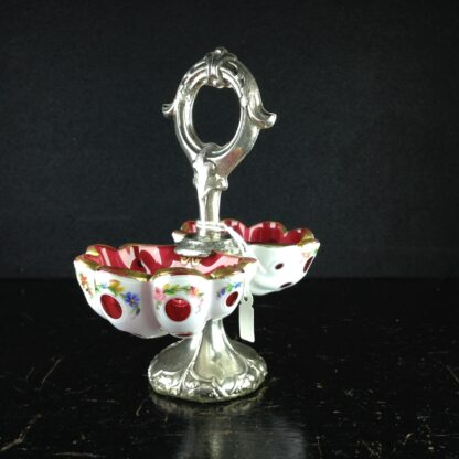 Ruby glass with white overlaid & flowers sweet-meat dish, c.1900.-0