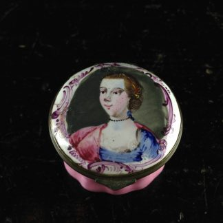 English enamel patch box, portrait, C. 1765. -0