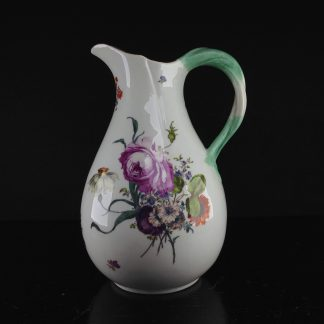 Meissen pear shape jug, French shape with flowers, c. 1765-0