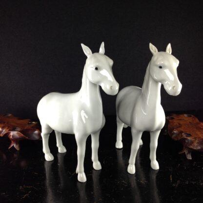 Pair of Japanese Hirado style horses, 19th century. -3164