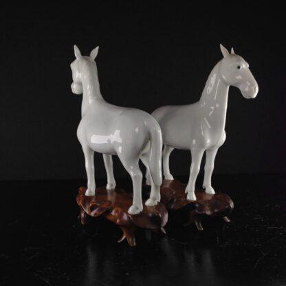 Pair of Japanese Hirado style horses, 19th century. -3165