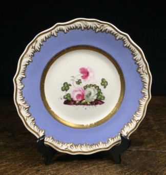 Samuel Alcock plate blue border & flowers, c. 1830-0