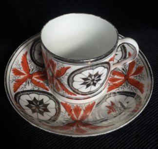 Davenport coffee can & saucer, bute shaped with platinum dec., c. 1810 -0